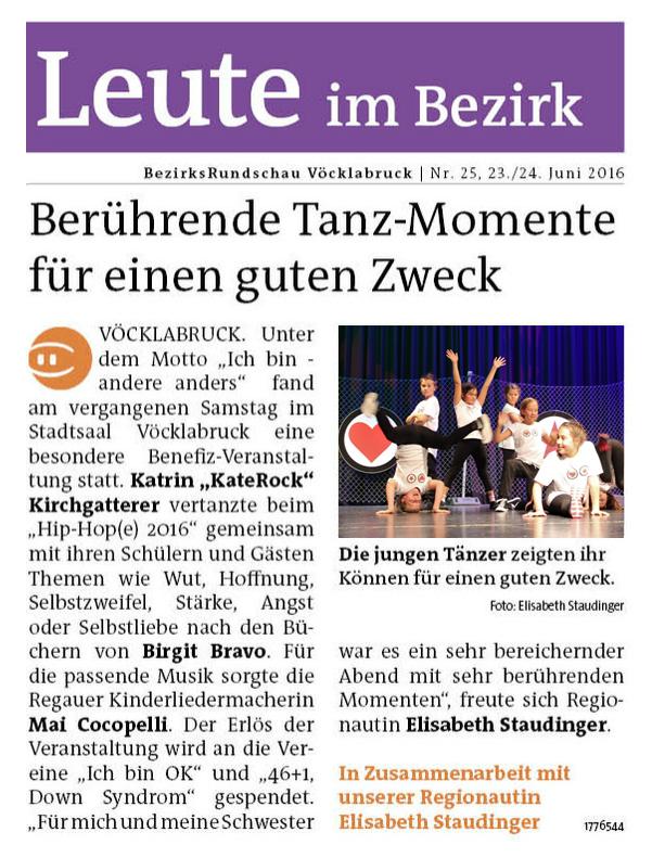 Berührende Tanzmomente für einen guten Zweck (MeinBezirk Vöcklabruck KW25/2016)