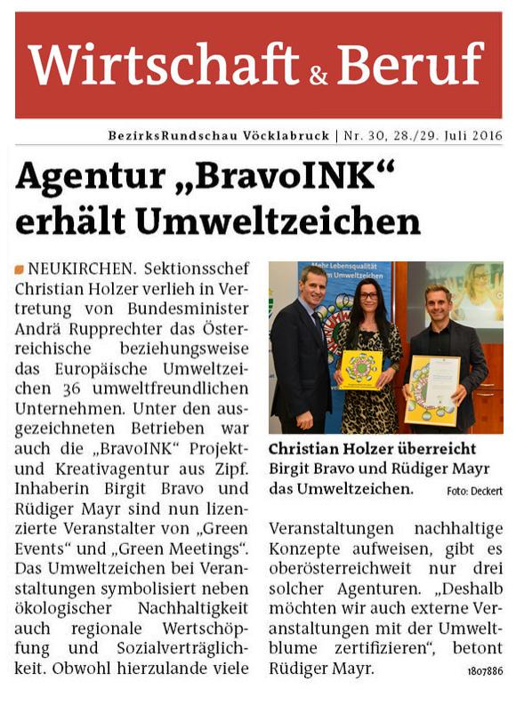 BravoINK Agentur erhält Umweltzeichen (MeinBezirk Vöcklabruck KW30/2016)